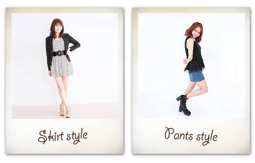 スカートスタイルとパンツスタイルな服装