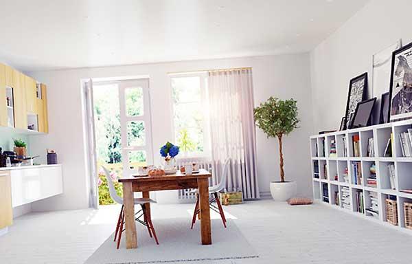 背の低いテーブルが置かれた部屋
