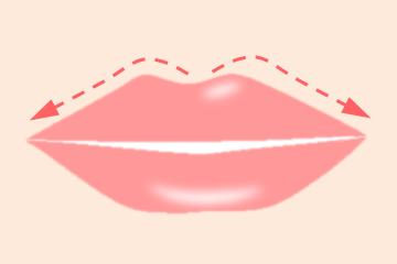 矢印に沿って上唇をマッサージ