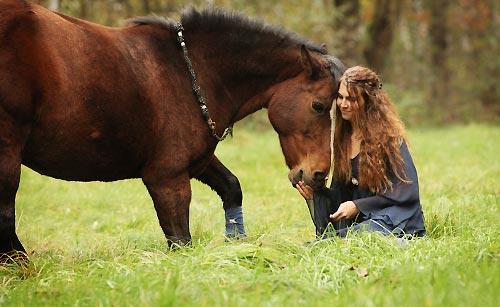 馬と触れ合う女性