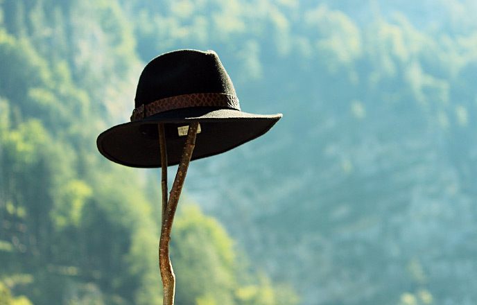 登山用の帽子