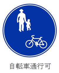 自転車通行可の道路標識