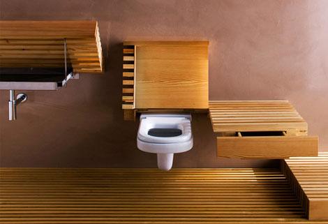 ふたが開いたトイレ