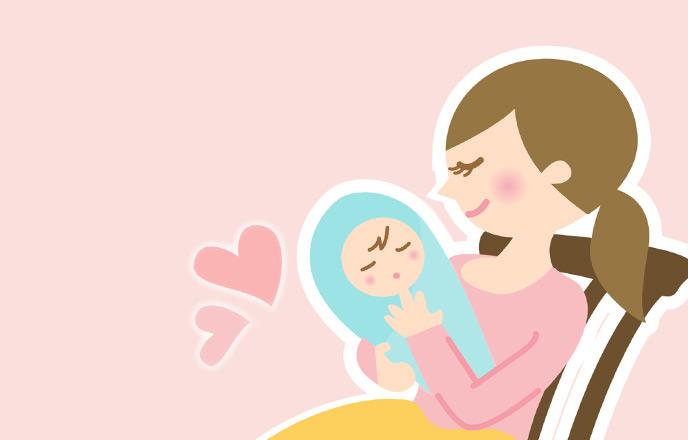 赤ちゃんを暖かく見守る母親