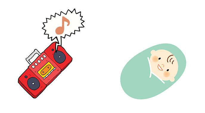 音楽を聴いて泣き止む赤ちゃん