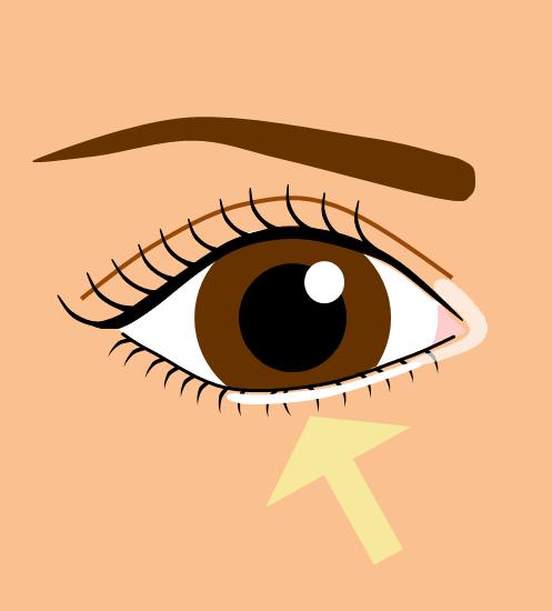 目頭から黒目の下まで白いアイシャドウ