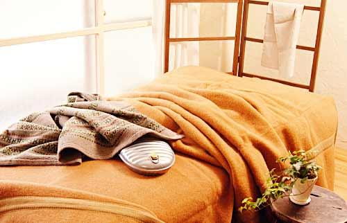 ベッドの上の湯たんぽ