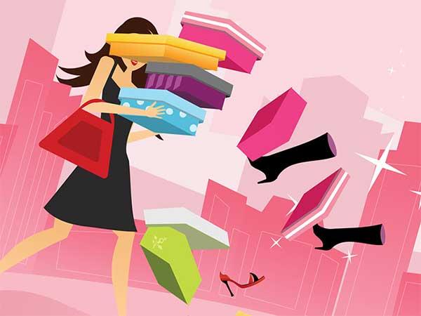 買い物した沢山の品物を崩す女性のイラスト