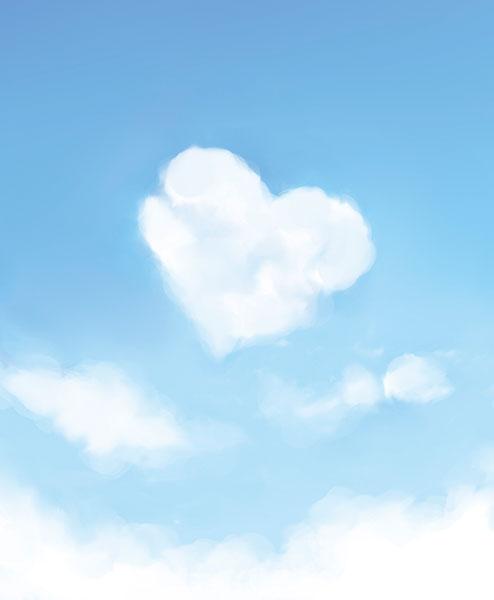 恋愛運アップのハート型の雲