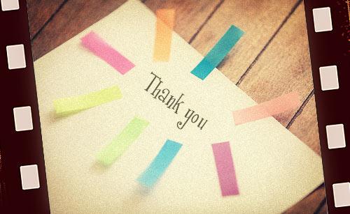 「ありがとう」と書かれたメモ