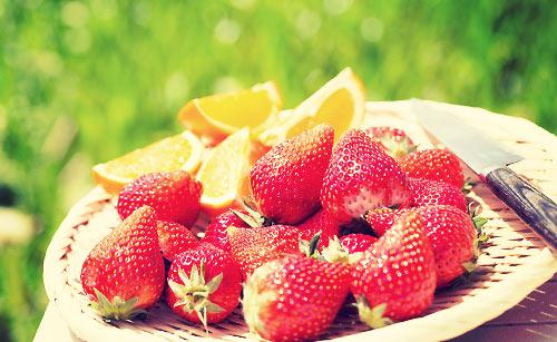 苺とオレンジ