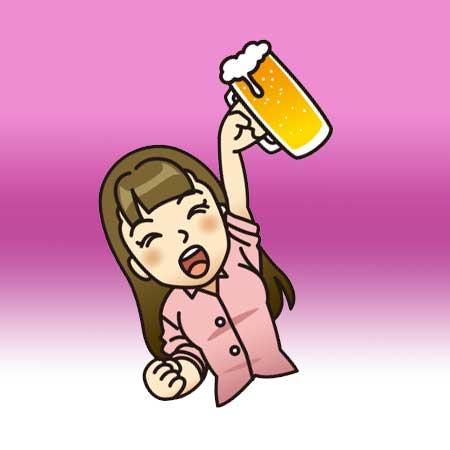 ビールのみ女子のイラスト