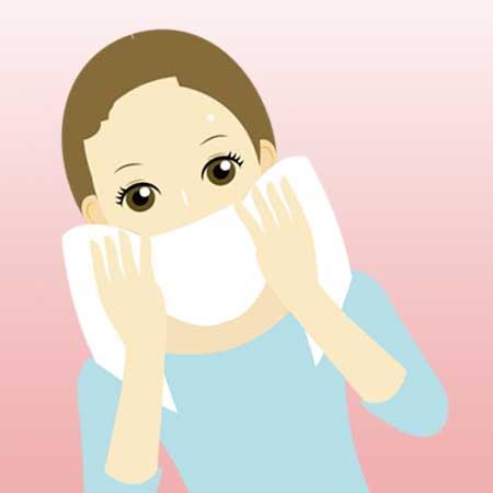 タオルで洗顔イラスト
