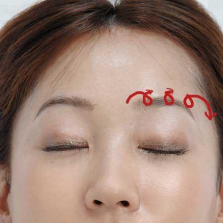 眉間から眉尻へ赤線