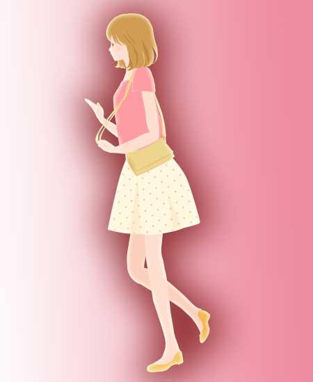 小走りの女性イラスト