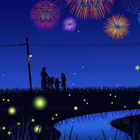 蛍と花火の夜