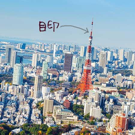 東京タワーにランドマーク矢印