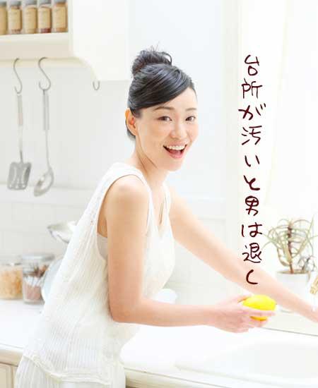 清潔な台所で水仕事する女性