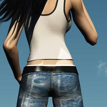 ローライズのジーンズをはいた女性