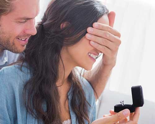 彼女の目を手で覆いながら指輪をプレゼントする男性