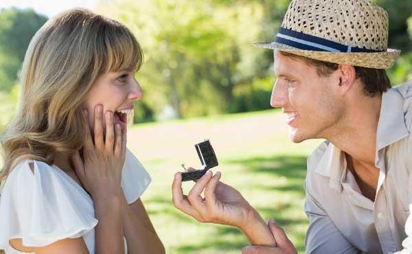 結婚指輪を渡すカップル