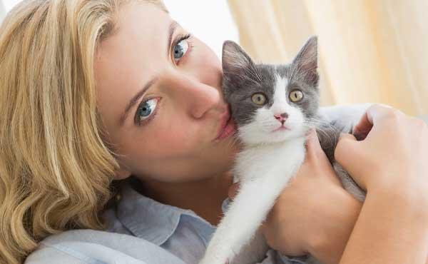 独りの時間で猫と遊ぶ女性