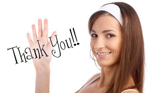 感謝する女性