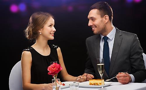 高級レストランでデート