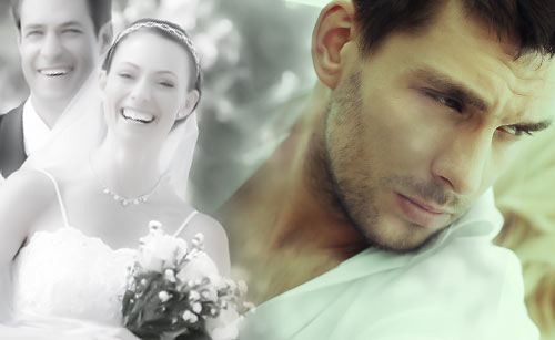 結婚の思い出と辛い表情の男性
