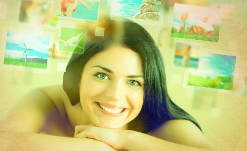 思い出と笑顔の女性