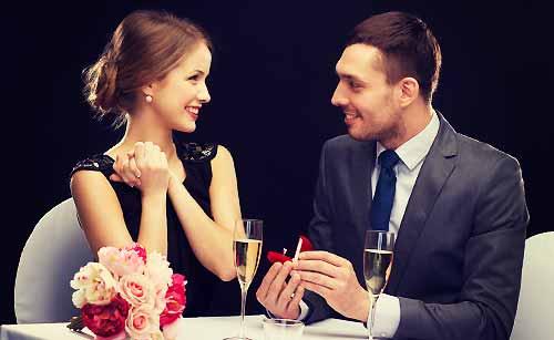 指輪をプレゼントしてもらう女性