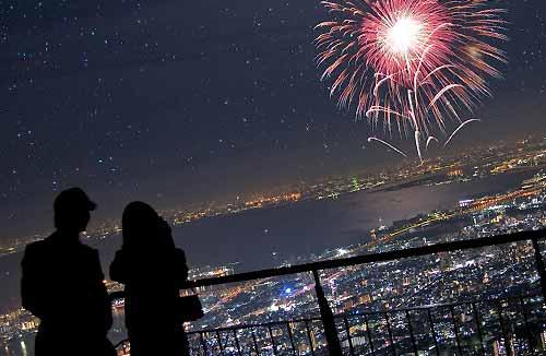 建物の屋上から花火を見るカップル