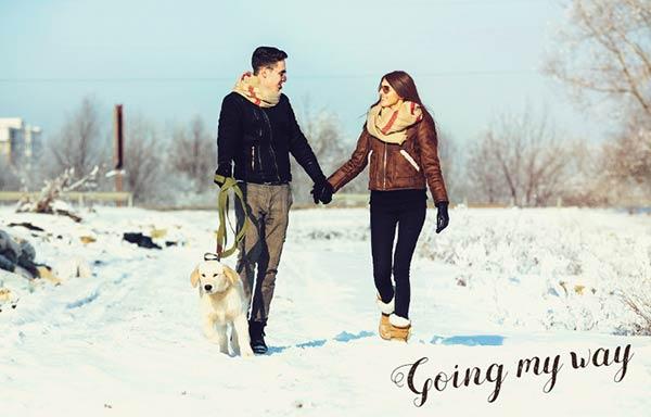 仲良く犬と散歩するカップル