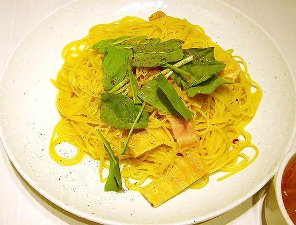 香ばしお揚げと壬生菜の京風ペペロンチーノ