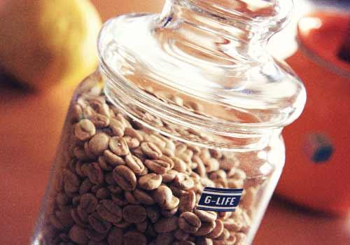 ビンに保管したコーヒー豆