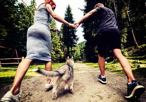 犬と走る男女