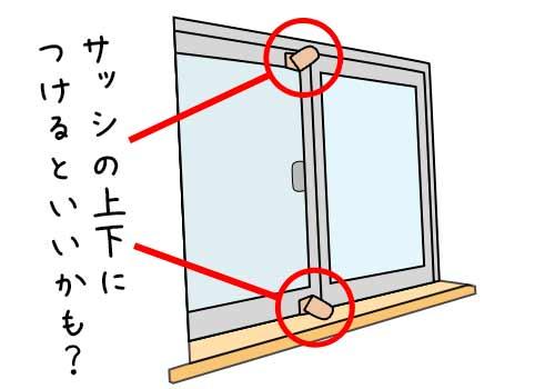 上下に補助錠をつけた窓