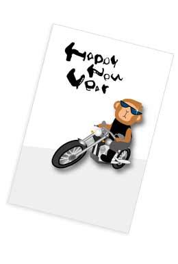 バイクに乗った猿の年賀状