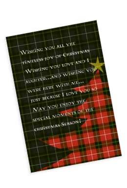 チェック模様をしたツリーのクリスマスカード