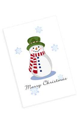 マフラーをした雪ダルマのクリスマスカード