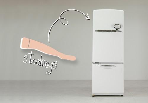 ストッキングを冷蔵庫に入れる