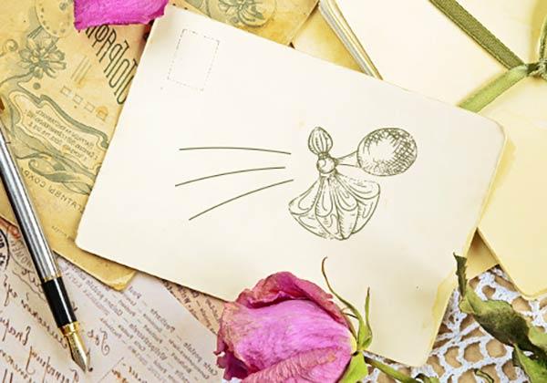 香水の絵を描いた手紙