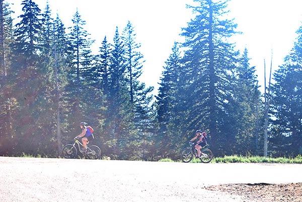 自転車で山を登る人を発見