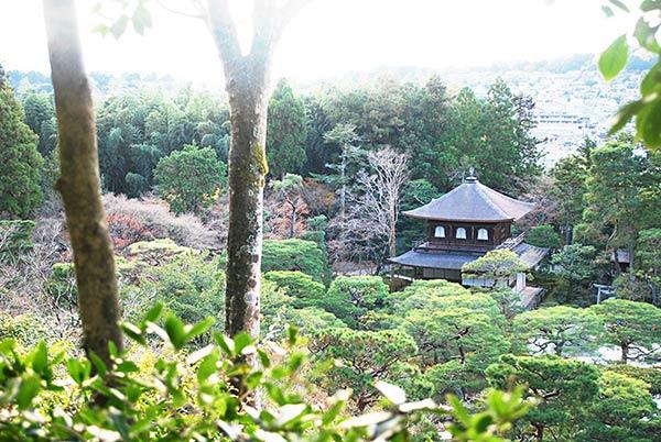 上から銀閣寺を撮ってみる。