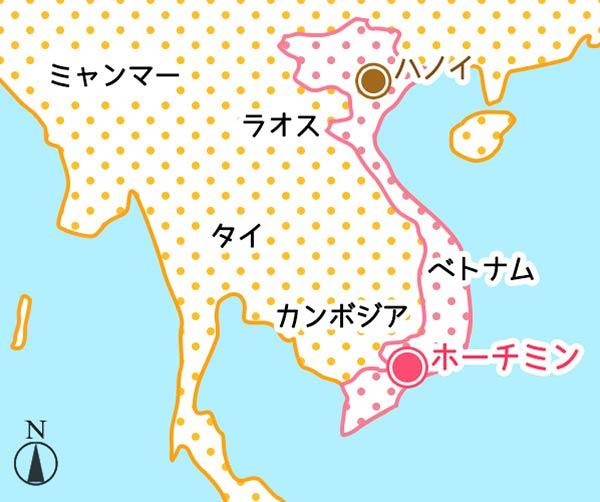 ハノイとホーチミンの地図
