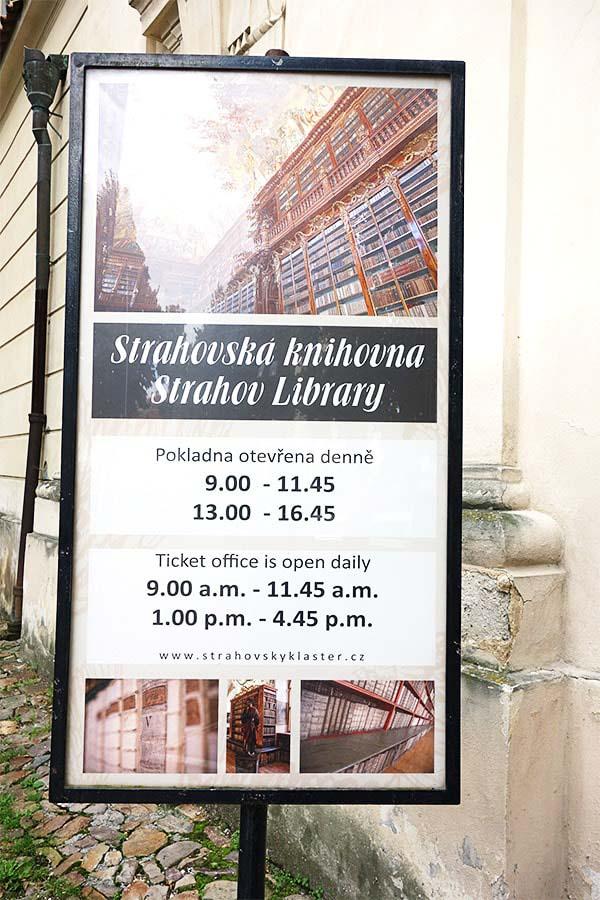 ストラホフ修道院の看板