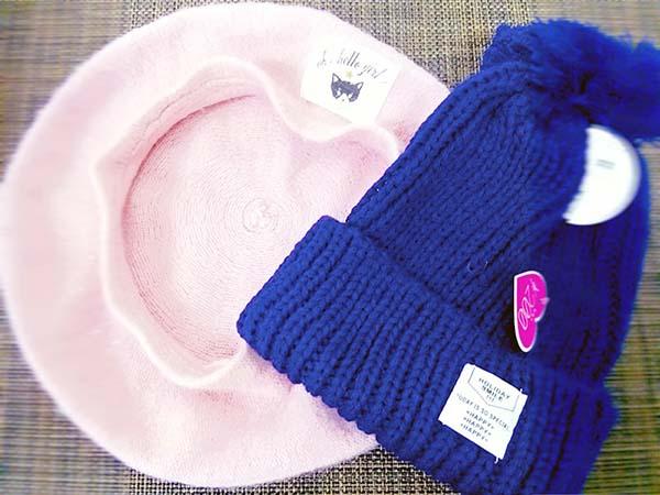 「ダイソー」ガールズトレンドのおそろいポンポン付ニット帽