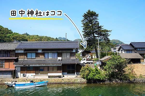 道路側から見た田中神社の場所