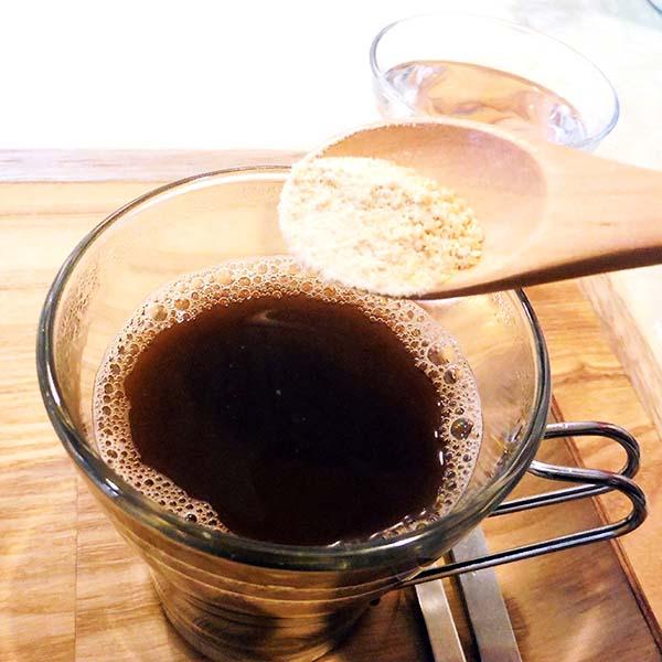 オーガニックコーヒーは甜菜糖を入れて飲みました