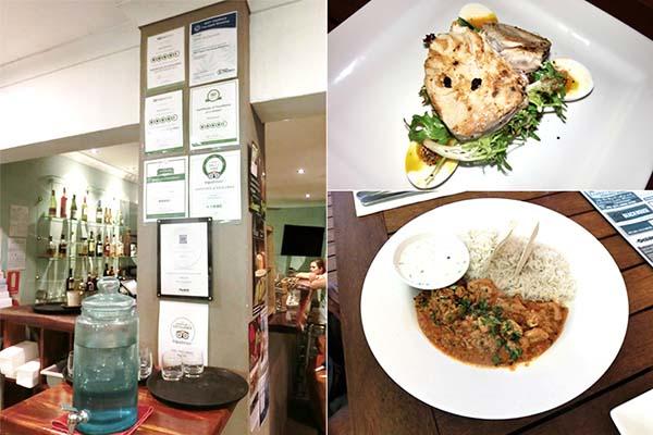 レストランの風景と料理